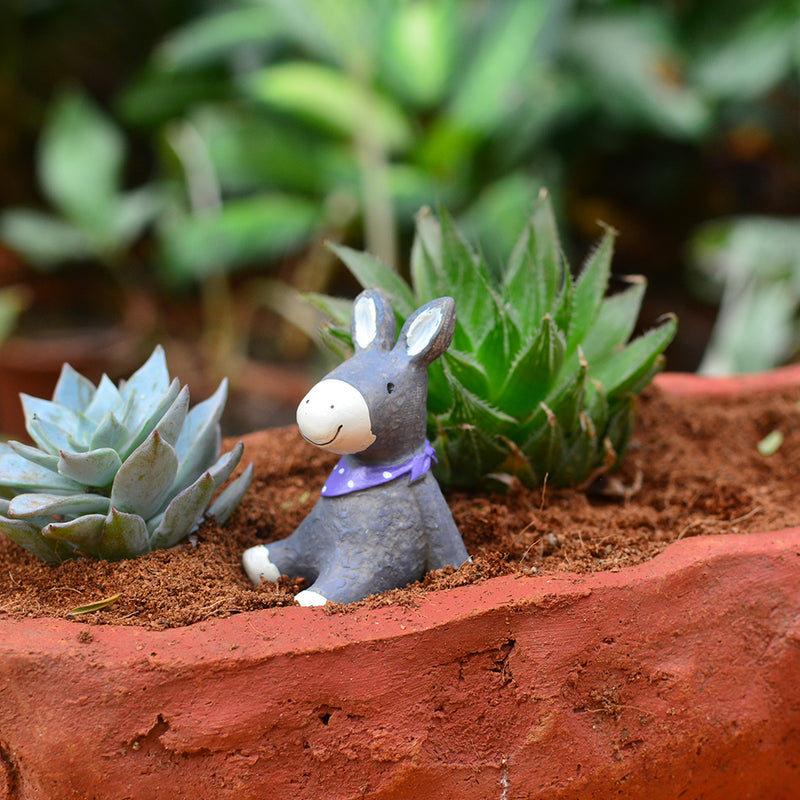 Miniature Cute Smiling Donkey Decor