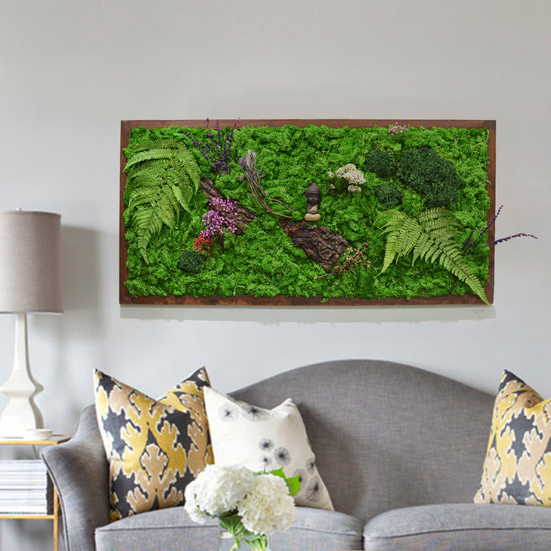 The Enlightened Bodhi Moss Frame with Dark Wood