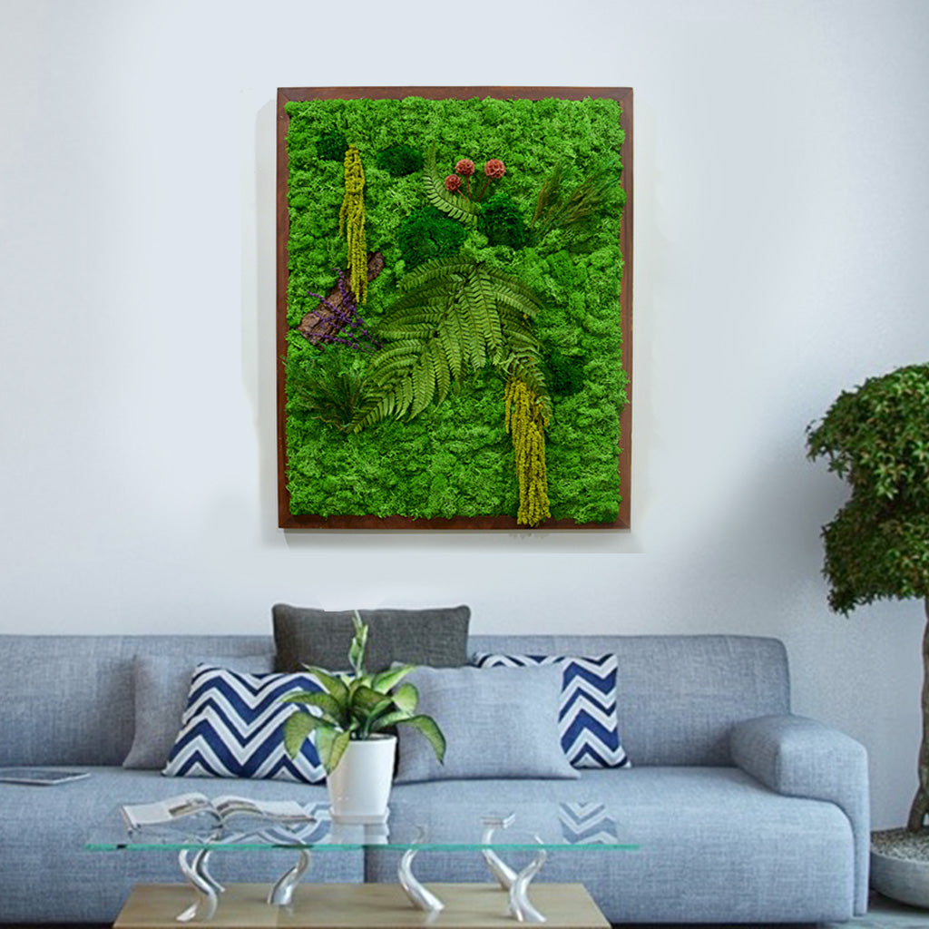 The Enchanted Wildwoods Moss Frame with Dark Wood