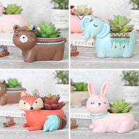 (Set of 4) Cute Tribal Animals Resin Succulent Pots