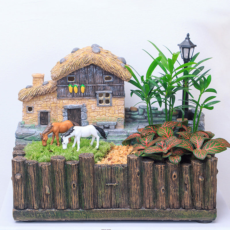 Village Hut with LED Light Resin Succulent Pot