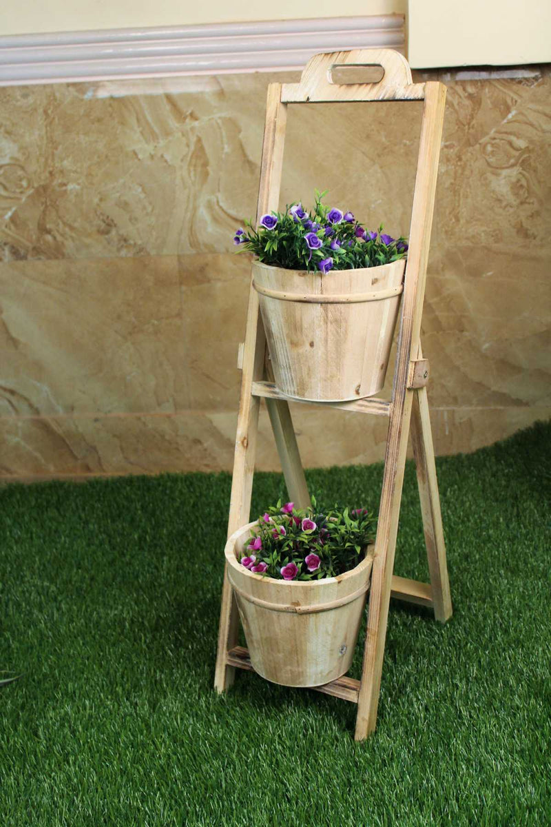 2 tier flower stands in wood
