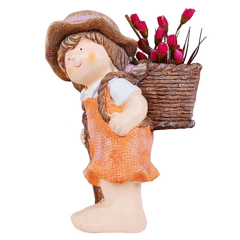 Girl with Stick and Basket Pot