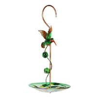 Hanging Green Bird With Glass Feeder
