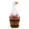 Pink Duck with Barrel Planter