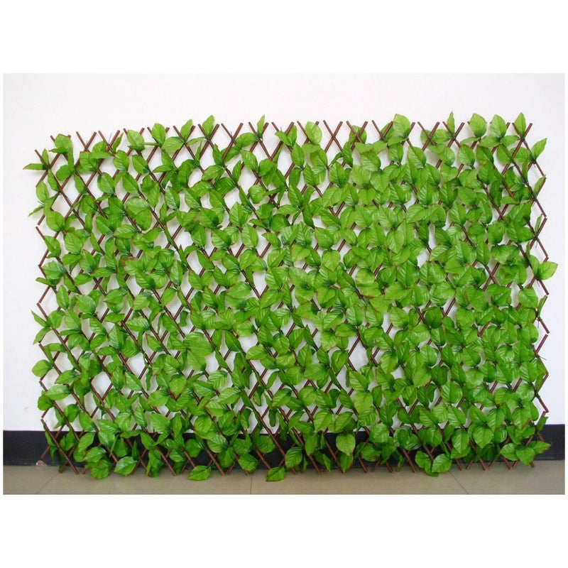 Set of 2 Expandable Willow fence with artificial green leaves & white flowers