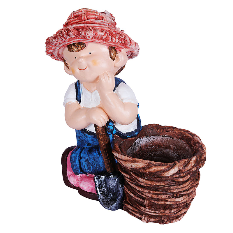 Farm Boy with spade & Girl with water can planter
