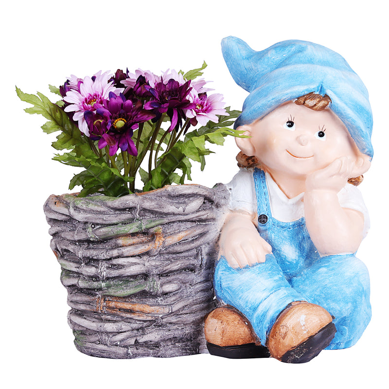 Boy sitting with Pot planter