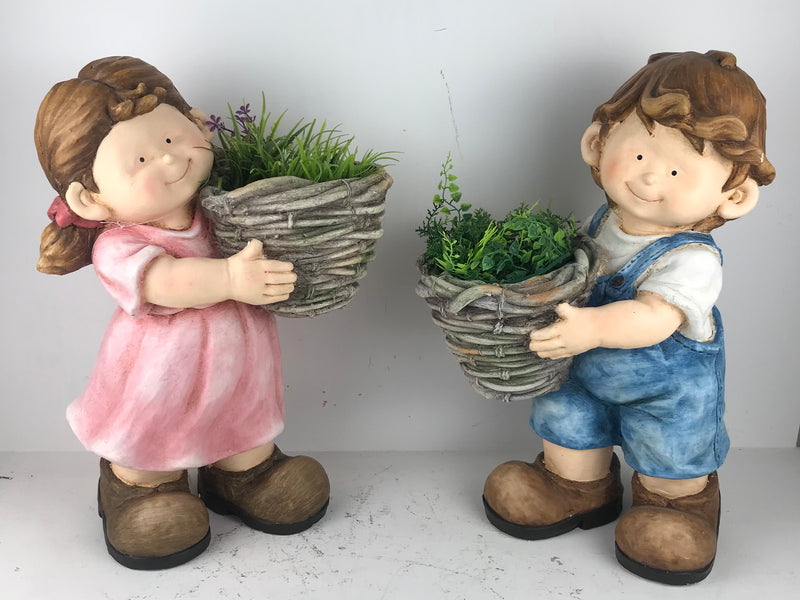 Boy & Girl standing with Pot planter