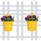 (Set of 2) Round bucket Plain Railing planter