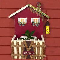 Welcome Home with Fence Wood Planter