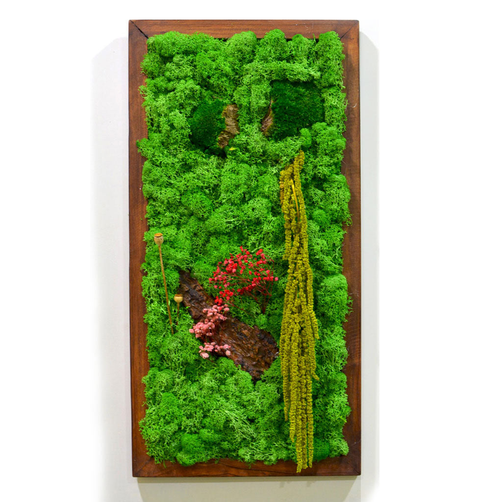 A Splash of Wild Moss Frame with Dark Wood