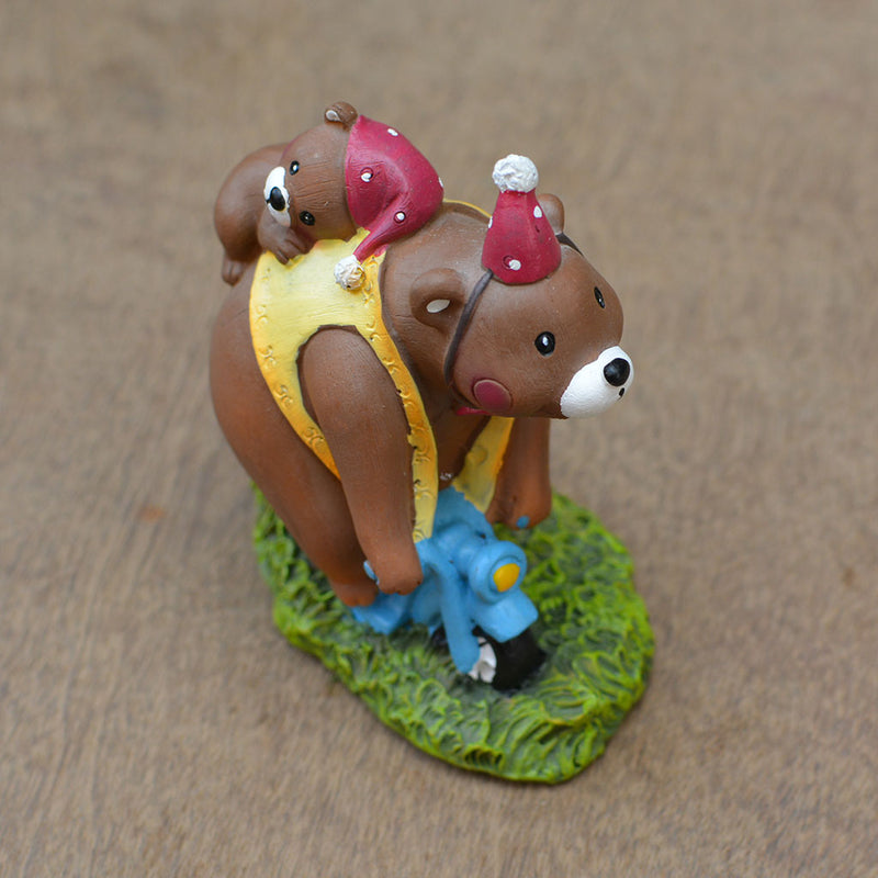 Miniature Bear Family on Scooter Decor