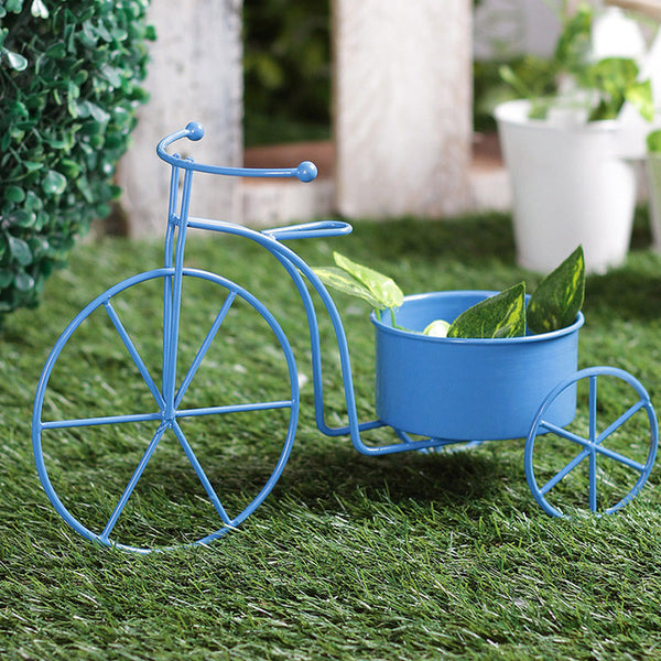 Big Blue Bicycle Planter