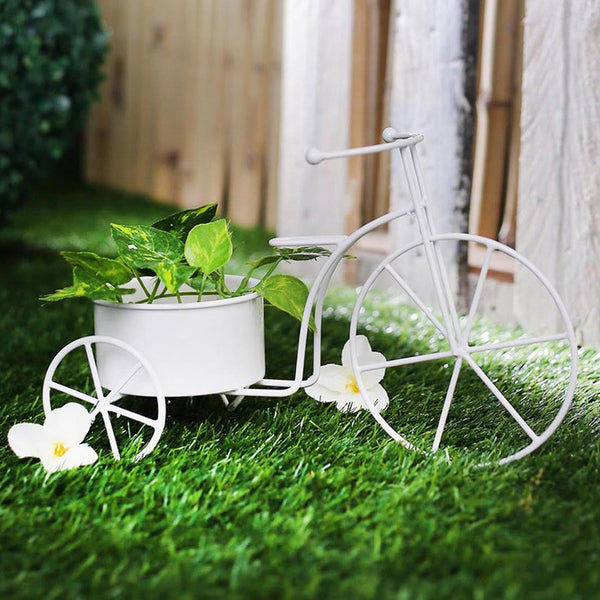 Big White Bicycle Planter