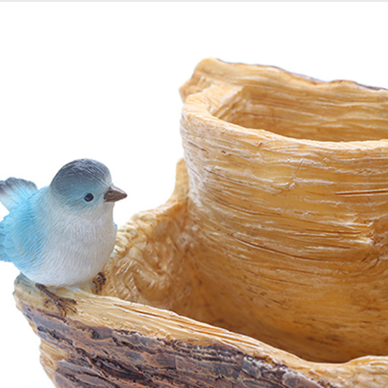 Bird on a Bark Resin Succulent Pot