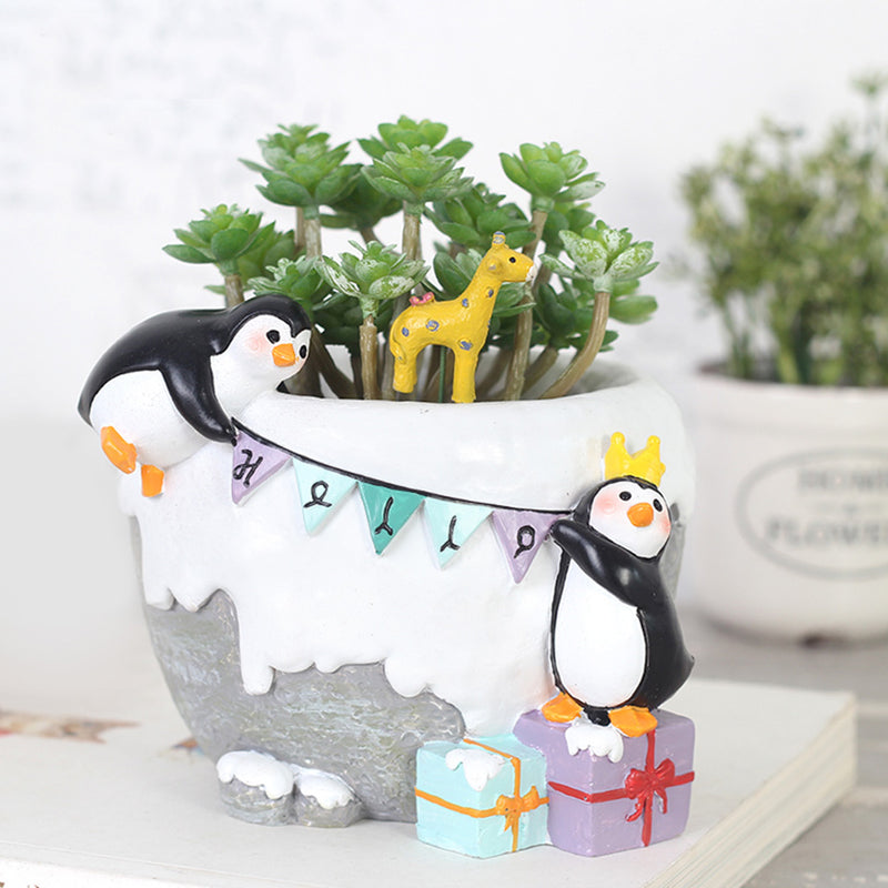 Penguins Celebrating Resin Succulent Pot