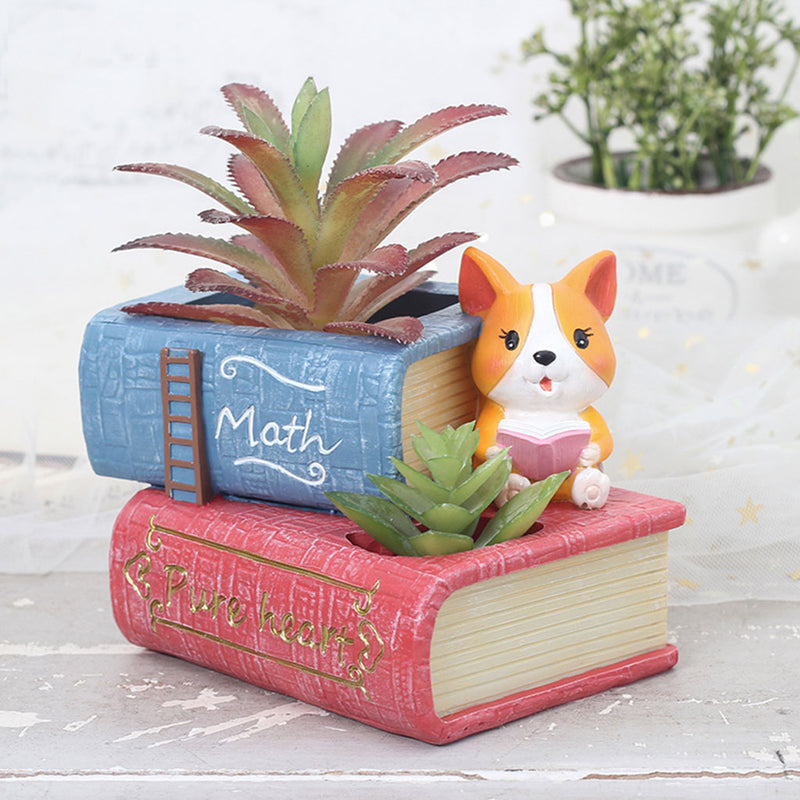 Cute Corgi Dog Reading Book Succulent Pot