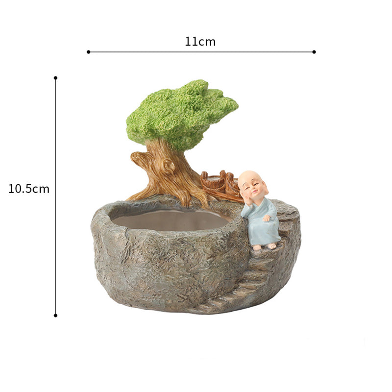 Cute Monk Relaxing Resin Succulent Pot