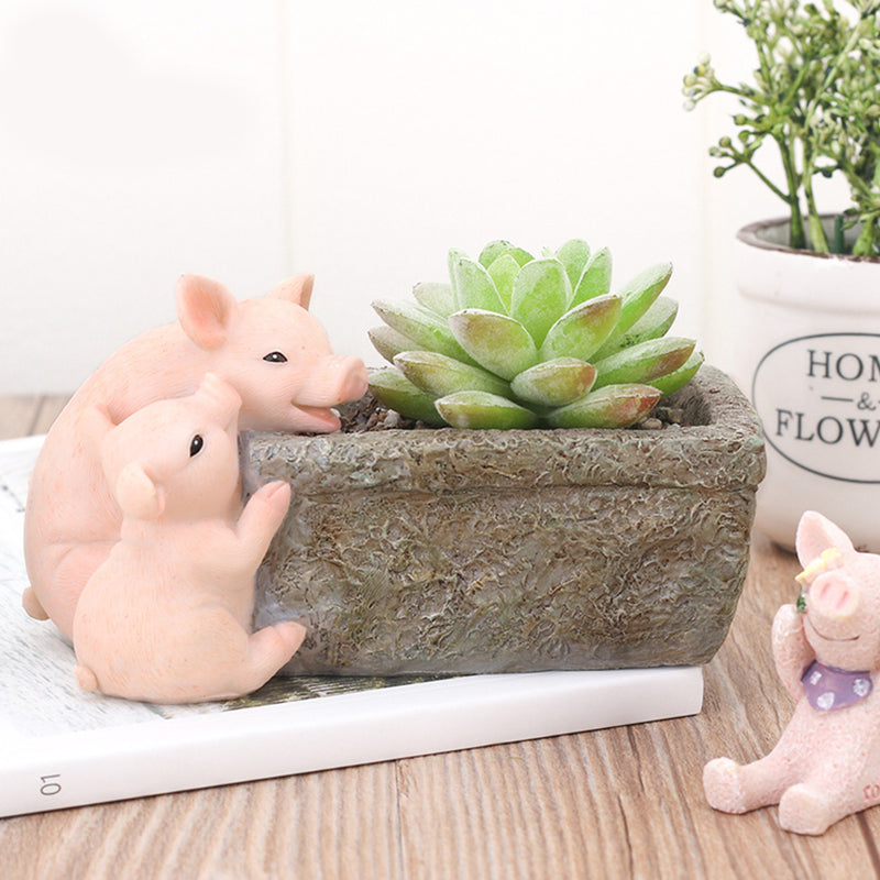 Cute Pigs Playing Resin Succulent Pot