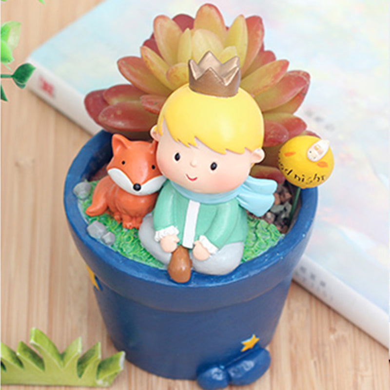 Cute Prince Sitting with Fox Resin Succulent Pot