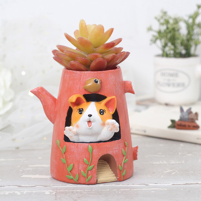 Cute Puppy In the Kettle Resin Succulent Pot