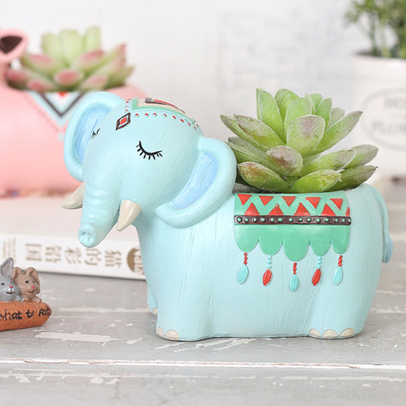 Cute Tribal Elephant Resin Succulent Pot