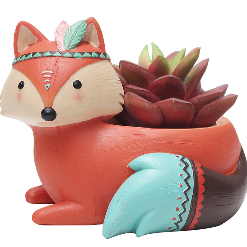 Cute Tribal Fox Resin Succulent Pot