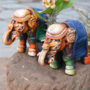 Set of 2 Decorative Terracotta Elephants