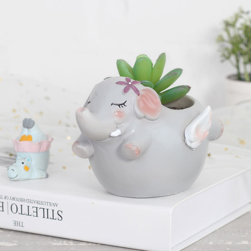 Cute Flying Elephant Resin Succulent Pot