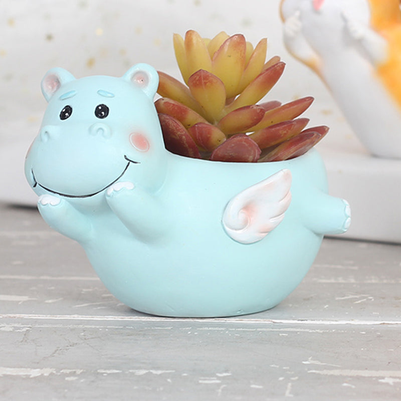 Cute Flying Hippo Resin Succulent Pot