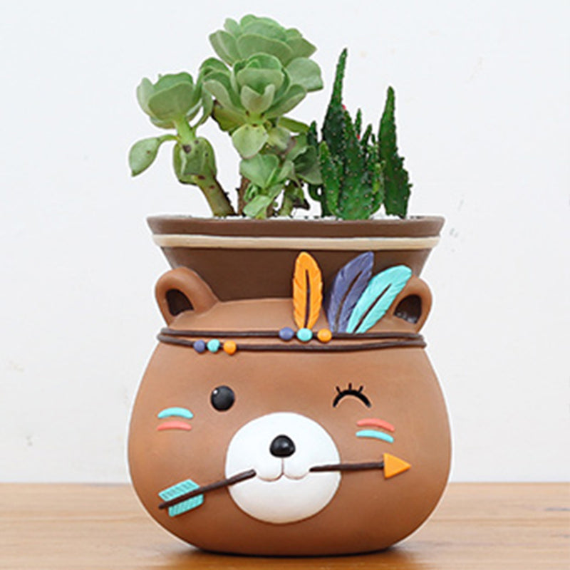 Hanging  Tribal Bear Resin Succulent pot