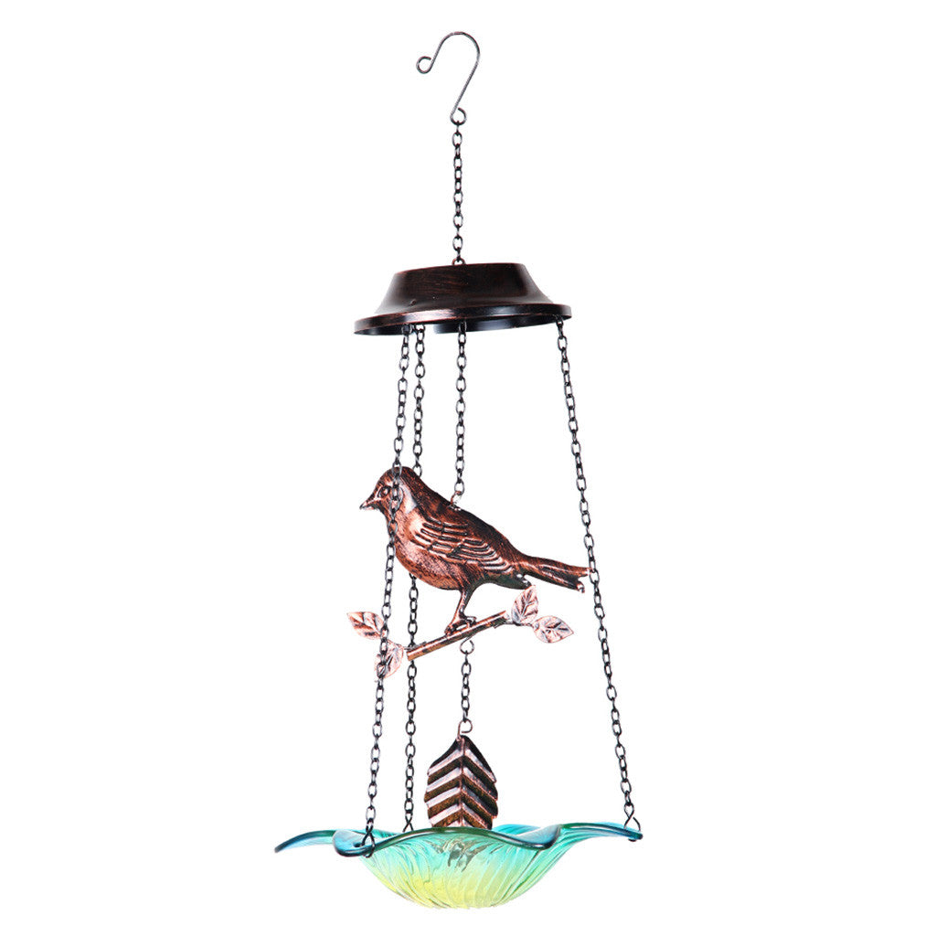 Hanging Metal Bird Feeder With Blue Glass Flower Base Garden Essentials myBageecha - myBageecha