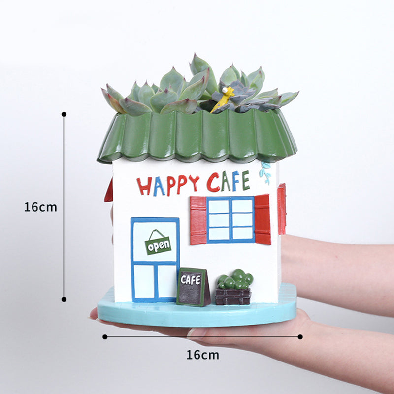Happy Café Resin Succulent Pot