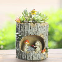 Hedgehog Reading in Treehouse Resin Succulent Pot