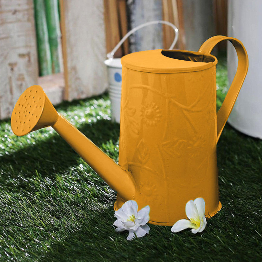 Design Embossed Metal Yellow Watering Can Garden Essentials myBageecha - myBageecha