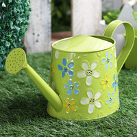Hand Painted Metal Green Watering Can Garden Essentials myBageecha - myBageecha