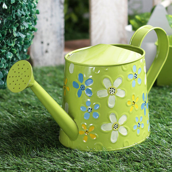 Hand Painted Metal Green Watering Can