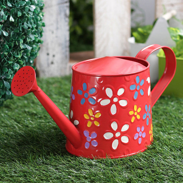 Hand Painted Metal Red Watering Can