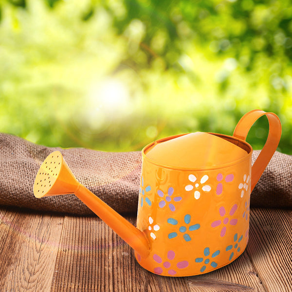 Hand Painted Metal Yellow Watering Can
