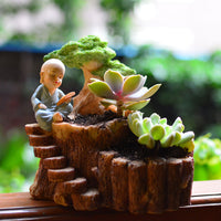 Monk Reading under Tree Resin Succulent Pot