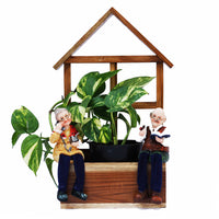 Hut with Old Couple Sitting Planter Garden Essentials myBageecha - myBageecha