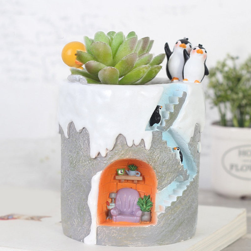 Set Of 2 Cute Penguin Resin succulent Pots With Succulents
