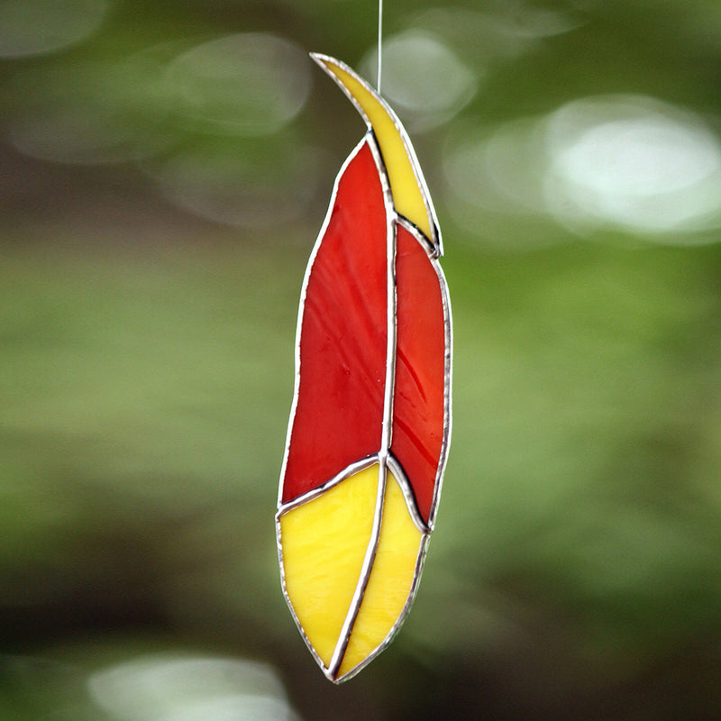 Suncatcher Stained-Glass Feather Decor myBageecha - myBageecha