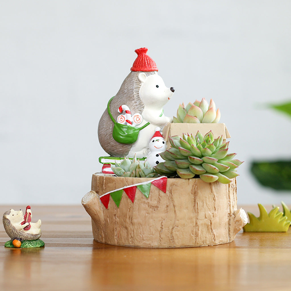 Christmas Hedgehog With Gift Resin Succulent Pot