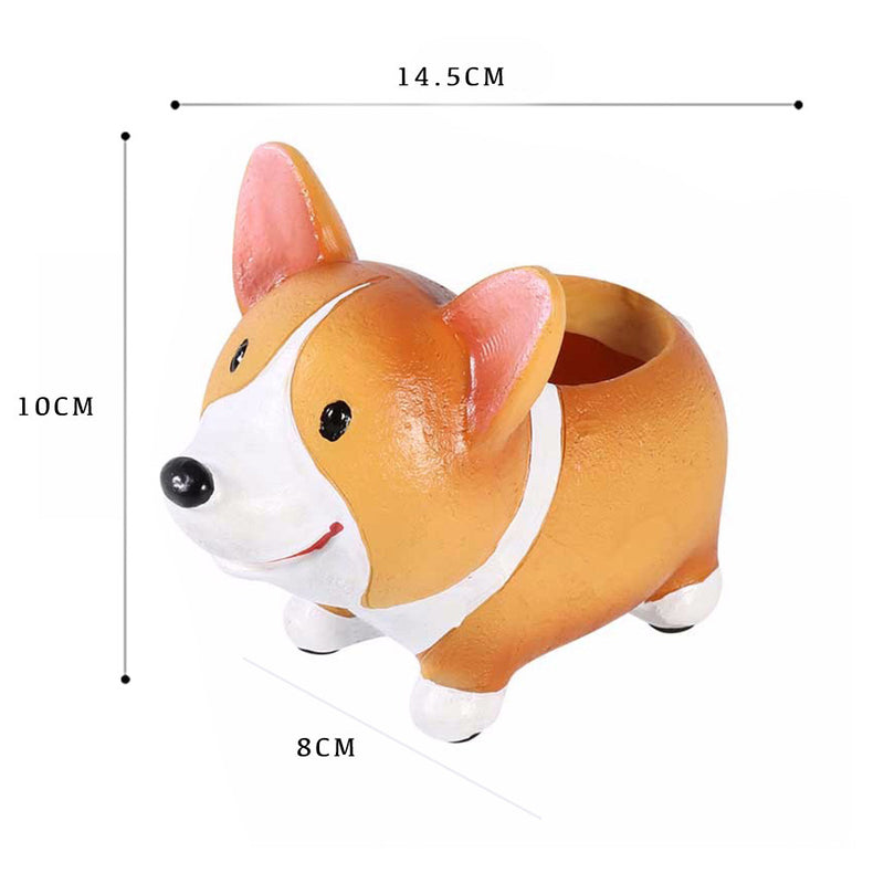 Cute Corgi Dog Standing Resin Succulent Pot Garden Essentials myBageecha - myBageecha