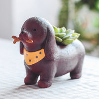 Cute Dachshund Dog Standing Resin Succulent Pot Garden Essentials myBageecha - myBageecha
