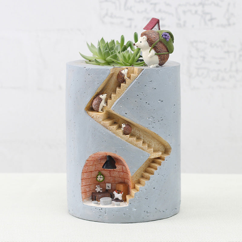 Hedgehog Family Home Resin Succulent Pot