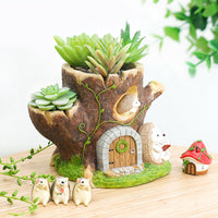 Hedgehog Reading Below Treehouse Resin Succulent Pot