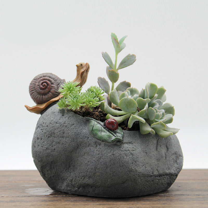 Cute Snail Resin Succulent Pot